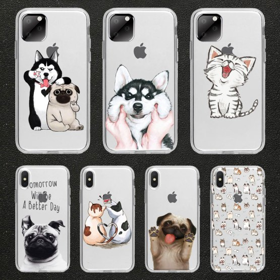 Animal Phone Case For iPhone 11 pro max 5 SE 5s 4S 6 6S 8 7 Plus X XR Funny cute cat dog Animal Phone Case For iPhone 11 pro max 5 SE 5s 4S 6 6S 8 7 Plus X XR XS MAX TPU Transparent silicone case.