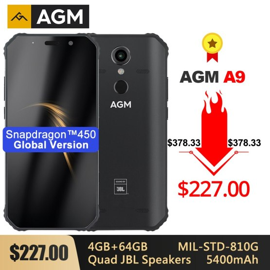 """AGM A9 Rugged IP68 Waterproof Smartphone SDM450 5.99"""" FHD+ 4GB 64GB 5400mAh Quick Charge 3.0 Android 8.1 Quad-Box Speakers NFC"""