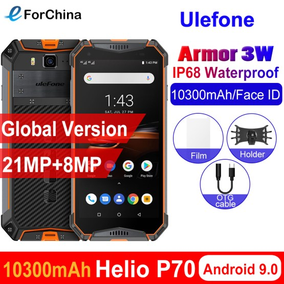 "Ulefone armor 3W IP68 Waterproof Android 9.0 Mobile Phones 5.7"" Helio P70 6G+64G Face ID NFC Global Version Smartphone 10300mAh"