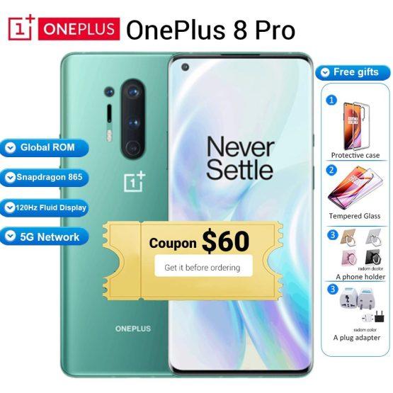 "Global ROM Oneplus 8 pro 5G Mobile Phone 12GB 256GB /8GB 128GB 6.78"" 120Hz Snapdragon 865 48MP 30W 4510mAh NFC 5G Smartphone"