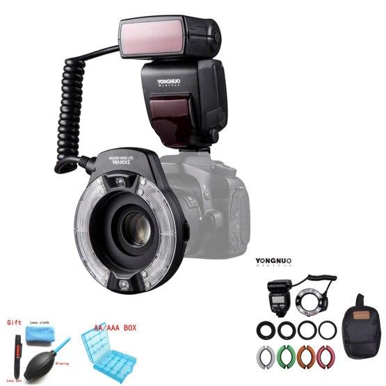 YONGNUO YN14EX II Macro Ring Flash Light Kit Large LCD Display Adapter Rings Hot Shoe Mount M/TTL Flash for Canon DSLR Camera