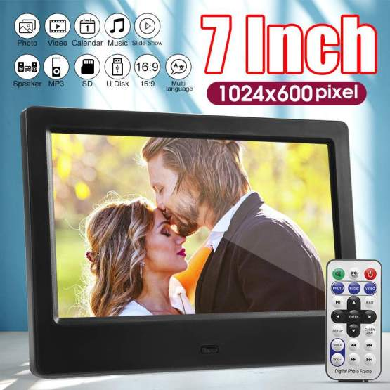 7 inch Screen Digital Photo Frames HD LED Backlight 1024*600 Full Function Picture Music Video Movie Electronic Album Gift