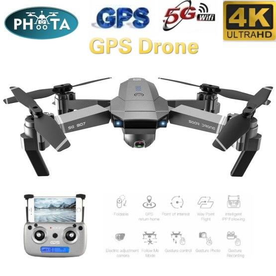 SG907 50X Zoom GPS Drone 4K HD Dual Camera Wide-Angle Anti-shake 5G WIFI FPV RC Quadcopter Foldable Professional GPS Follow Me