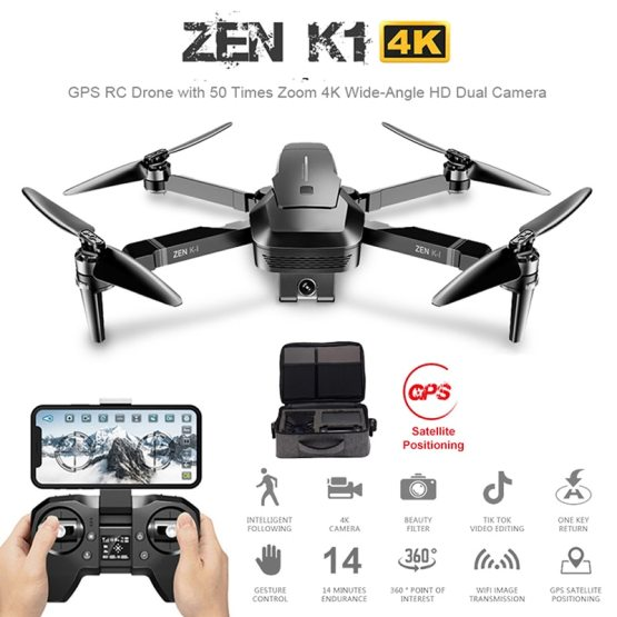 RC Drone with 50 Times Zoom 4K Wide-Angle HD Visuo ZEN K1 GPS RC Drone with 50 Times Zoom 4K Wide-Angle HD Dual Camera Wifi FPV Brushless Motor 28 Minutes Flight Time SG906