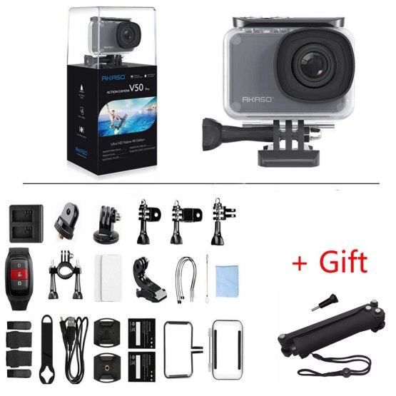 AKASO V50 Pro Native 4K/30fps 20MP WiFi Digital Action Camera EIS 30M waterproof Sport go Helmet pro sport cam+Gift Selfie Stick