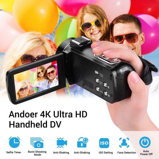 Andoer 4K Ultra HD Handheld DV Professional Digital Video Camera CMOS Sensor Camcorder with Hot Shoe for Mounting Microphone