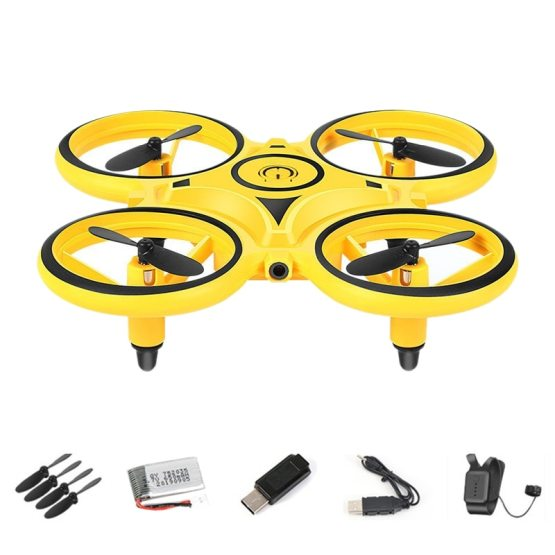 2.4G Gravity Sensor Infrared Induction Hand Watch Controlled Altitude Hold Drone,Yellow