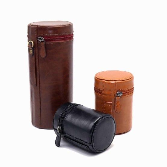 Protective Camera Lens Case Bag Cover for Canon Nikon Sony Fuji Pentax Panasonic DSLR Universal Camera Lenses PU Leather Pouch