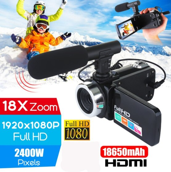 Professional 1080P HD Camcorder Video Camera 3.0 Inch LCD Screen Camera 18x Digital Zoom Camera With Microphone