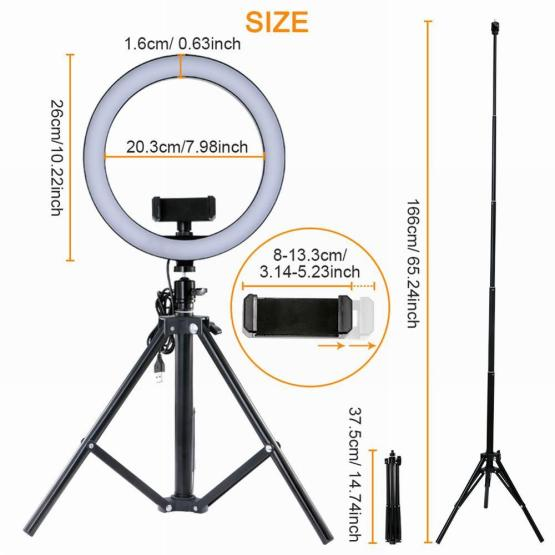 "10"" Selfie Ring Light with Remote Control 16-Color Camera Ring Light with Phone Holder and Tripod for Live Stream TikTok"
