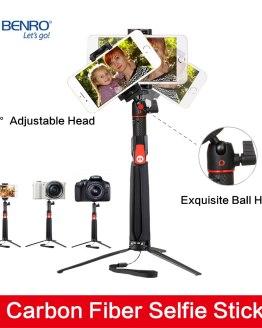 Benro SC1 carbon fiber Smartphone Selfie Stick mini Monopod Tripod wireless Bluetooth Remote for iphone X Gopro Canon Nikon Sony