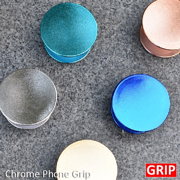 chrome pop socket phone grips