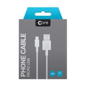 Micro USB cable Core 300cm White 1A