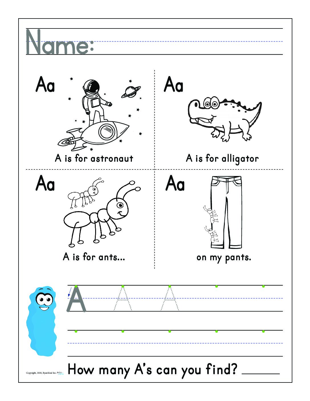 Handwriting Worksheets Pre K And K Lowercase Letters