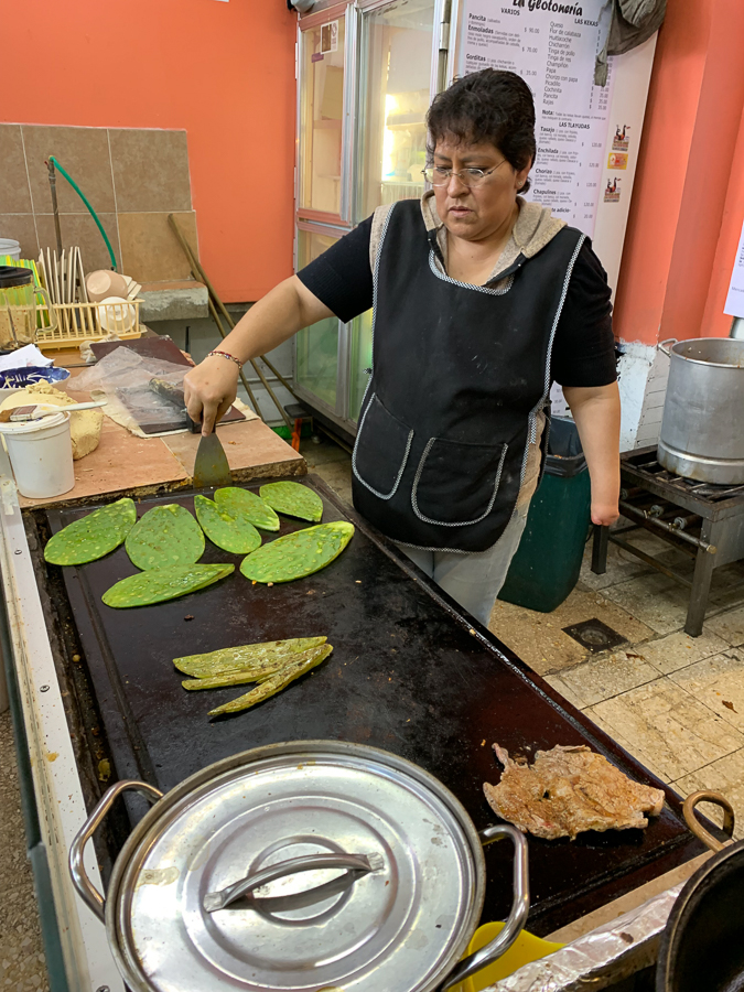 Making Cactus and Beef Tacos, Mexico City, Mexico ©2019, Cyndie Burkhardt