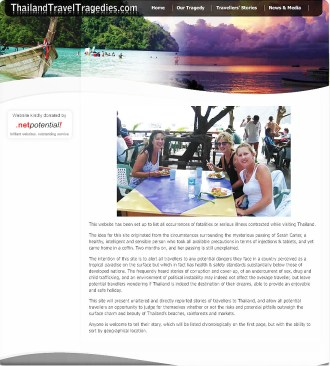 The landing page of Thailand Travel Tragedies