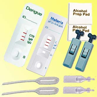 Home Kit Biotech's rapid medical test kits for travelers comprises a malaria instant test kit and a dengue instant test kit for under $26.