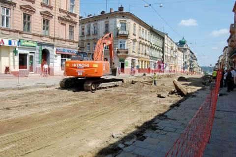 Ремонтні роботи на вулиці Городоцькії у Львові, травень 2011 року