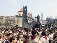 Урочистість 101 річниця першої Пластовой присяги у Львові на площі перед пам'ятником Тарасу Шевченку.