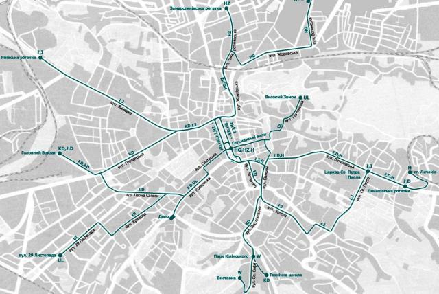 Схема руху трамваїв станом на 1914 рік.