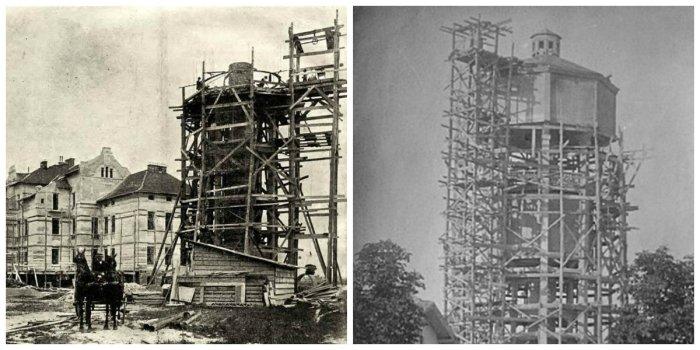 Будівництво вежі на Кульпаркові, 1905 рік.
