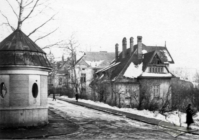 Загальний вигляд маєтку Людвіка Вєжбицького і вулиці Метрологічної ,фото радянського періоду ,орієнтовно 1955-1970 роки