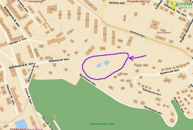 Локація купальні на сучасному плані міста