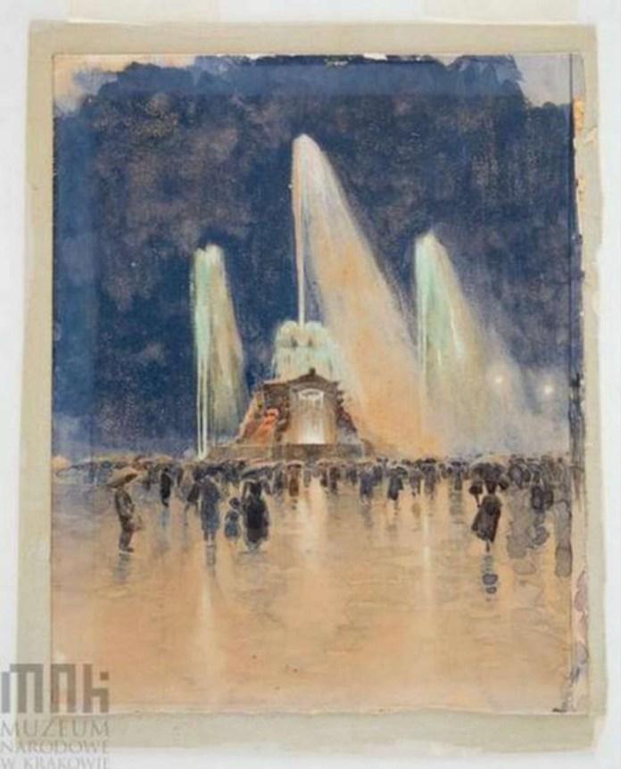 Світломузичний фонтан, представлений на Виставці Крайовій у Львові, 1894 рік