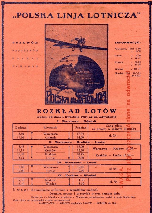 """Розклад польотів компанії """"Polska Linija Lotnicza"""" від 1 квітня 1925 року."""