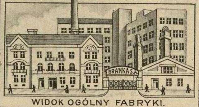 """Фасад головних потужностей """"Бранки"""". Фото з преси початку XX століття"""