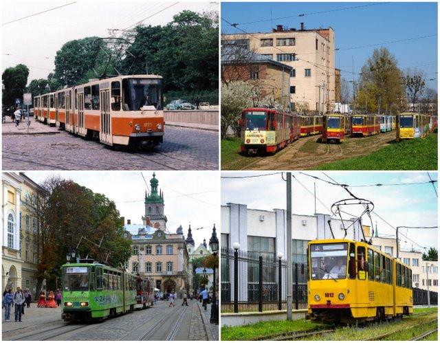 """Трамваї серії """"Tatra KT4A2"""" на вулицях Львова."""
