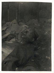 Жертви розстрілів у зовнішньому дворі тюрми. Ці тіла були винесені з камер, а також ексгумовані з трьох траншей, виритих у зовнішньому дворі тюрми.