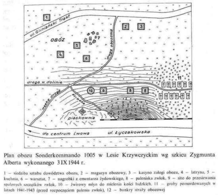 Карта-схема Лисинецького табору виконана очевидцем подій Зигмунтом Альбером у вересні 1944 року