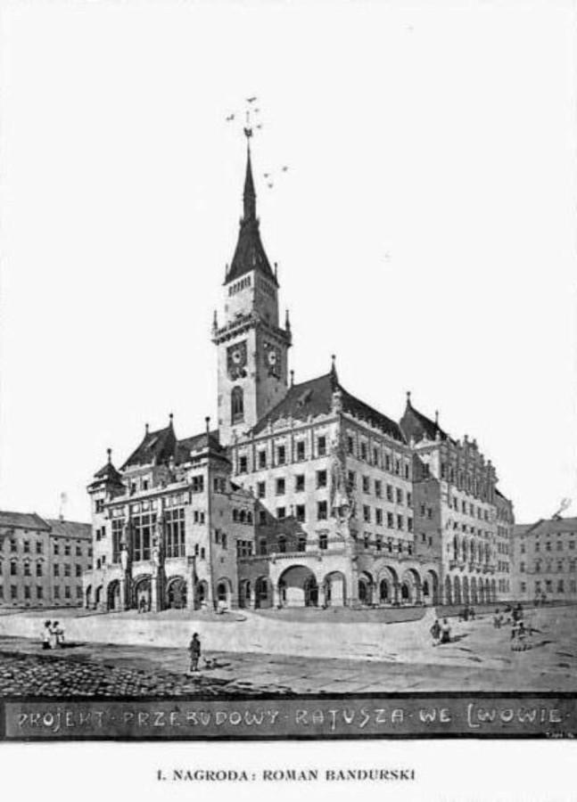 Проект перебудови будівлі магстрату у Львові Романа Бандурського. 1908 рік