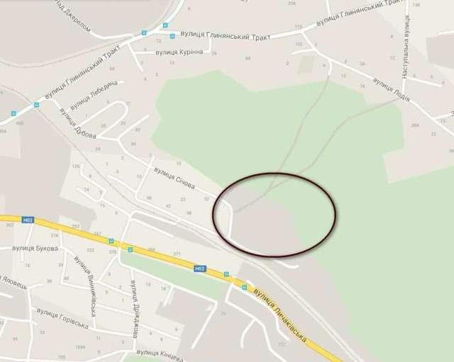 Приблизна локація ділянки Лисинецького табору на сучасній карті