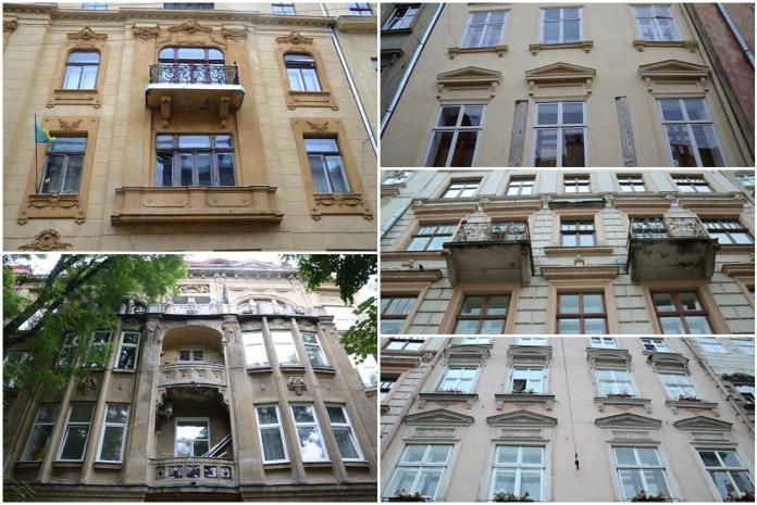 Відреставровані вікна у будинках в центральній частині Львова