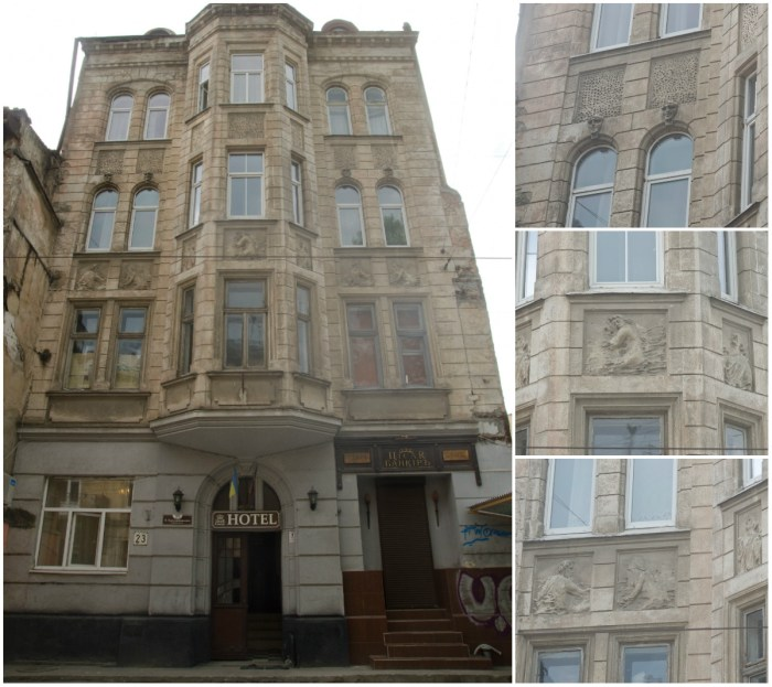 Будинок № 23 сецесійний, у стилізованих формах галицького ренесансу, збудований 1912—1916 роках за проектом Александра Остена.