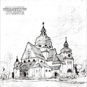 Костел Св. Анни. Конкурсний проект Л. Соколовського. Загальний вигляд, 1911 р.