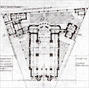 Костел Св. Анни. Конкурсний проект Л. Карасінського. План, 1911 р.
