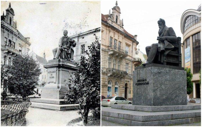 Пам'ятники Александру Фредру та Михайлу Грушевському на одній площі в різні часи