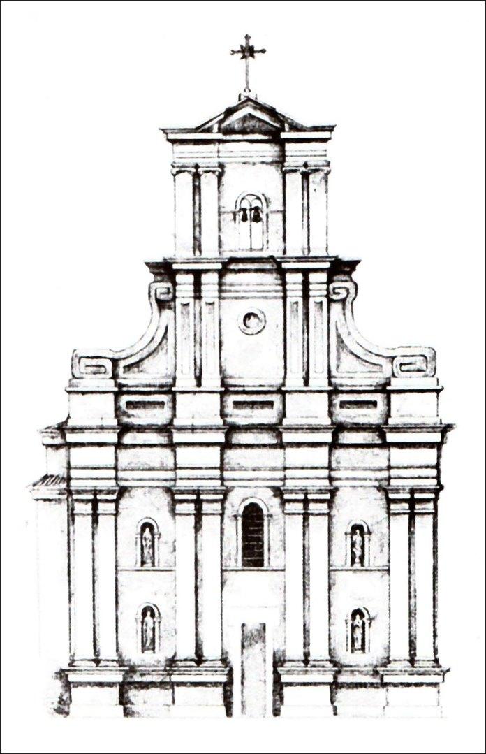 Фасад костелу Св.Софії (J.Swoboda) приблизно 1865 р.