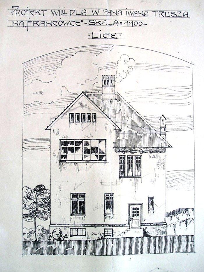 Графічний проект вілли І.Труша, виконаний архітектором О.Лушпинським. (Рукопис). НМЛ ім.А.Шептицького.