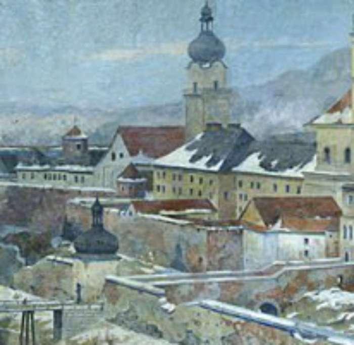Францисканський костел на фрагменті картини Розвадовського, Яновського (1928)