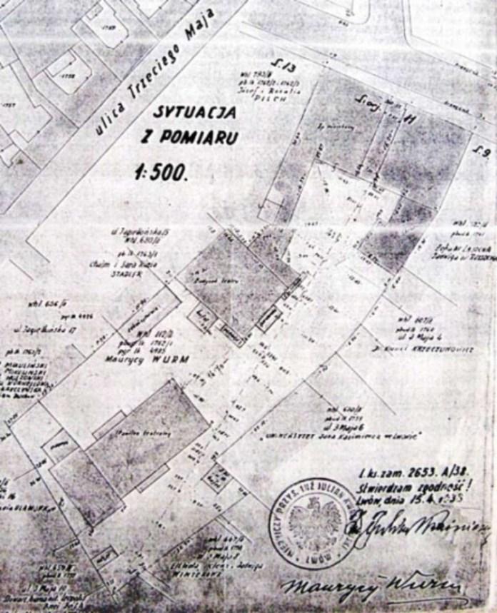 Ділянка єврейського театру на Ягеллонській на плані 1938 року