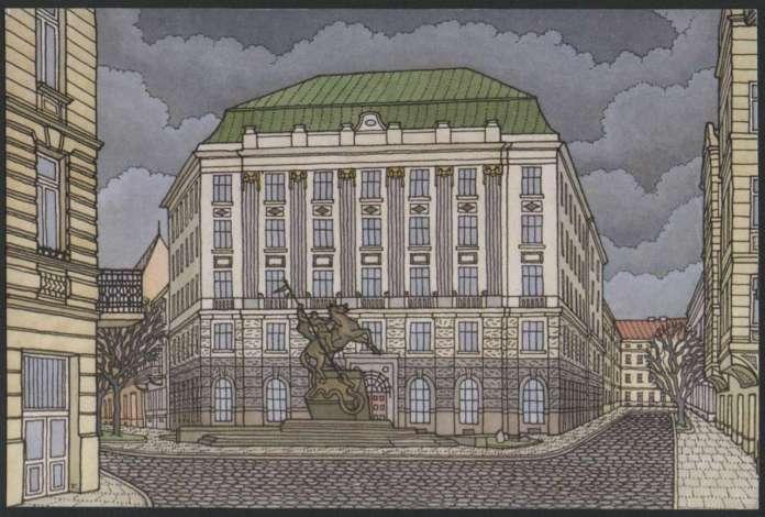 Фрагмент площі Григоренка із спорудою колишнього банку на сучасній поштівці Тетяни Казанцевої