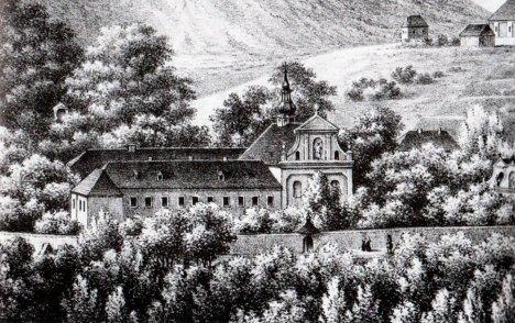 2. Костел Св.Казимира та навчальний заклад сестер Милосердя. Фрагмент літографії К. Ауера , 1837-1839 рр.