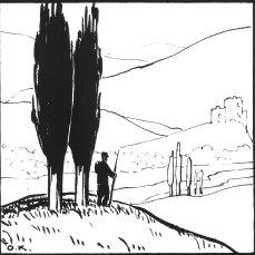 """Олена Кульчицька """"Ескіз до композиції"""", близько 1915-1916 років, папір, туш, перо, 13,5Х14,8"""