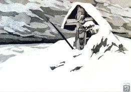 """Олена Кульчицька """"На варті"""", 1915 рік, півкартон, акватинта, 12,3Х17,2"""