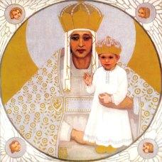 """Олена Кульчицька """"О, Мати Божа України!"""", близько 1915-1919 років, з репродукції, 24,5Х24"""