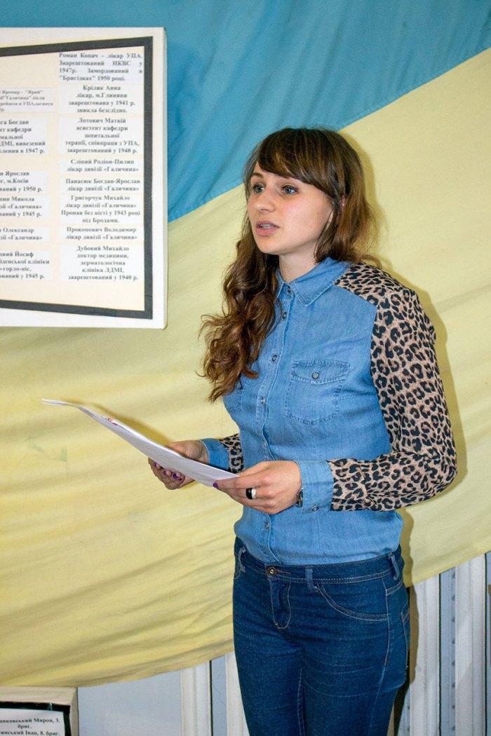 Мар'яна Пелипець на відкритті виставки до 110-річчя від дня народження Василя Кархута